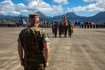 U.S. Marine Corps Maj. Gen. Joaquin Malavet, director, Strategic Planning and Policy, U.S. Indo-Pacific Command, takes his position in the reviewing stand during his retirement ceremony, Marine Corps Air Station Kaneohe Bay, Marine Corps Base Hawaii, June 14, 2019. Malavet retired after thirty-four years of service in the Marine Corps. (U.S. Marine Corps photo by Cpl. Zachary Orr)