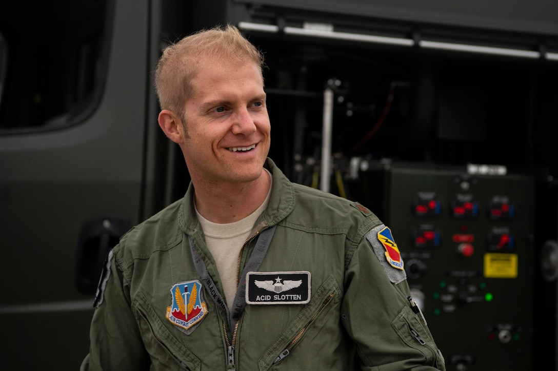 U.S. Air Force Maj. Michael Slotten, 421st Fighter Squadron F-35A Lightning II pilot, prepares to refuel an F-35A at Spangdahlem Air Base, Germany, July 11, 2019. Slotten was stationed at Spangdahlem from 2004 to 2006 as an Airman first class fuels distributor operator. He visited his old unit and became requalified to refuel aircraft while deployed at Spangdahlem as part of a Theater Security Package. (U.S. Air Force photo by Airman 1st Class Valerie Seelye)