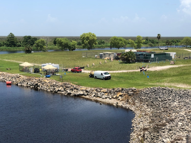 Overview of the HABITATS research test site at Moore Haven Lock and Dam, as seen from the top of the spillway.