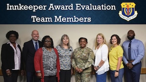 Air Force Services Center evaluation team members pose for a photo before beginning their visits to the seven installations in the running for this year's Innkeeper Awards. (U.S. Air Force photo by Armando Perez)