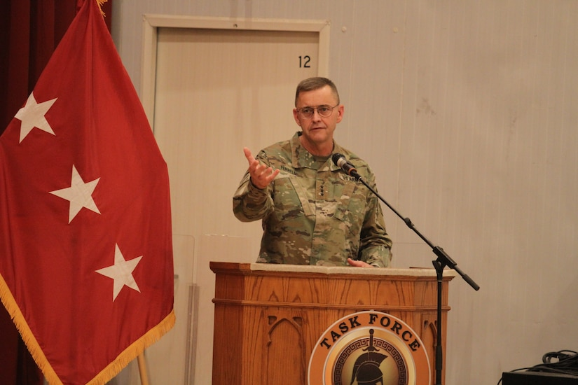 Lieutenant Gen. Terry Ferrell, commanding general, U.S. Army Central, speaks to the audience during the Task Force Spartan transfer of authority ceremony at Camp Arifjan, Kuwait, July 15, 2019. The ceremony marked the transfer of mission command between the outgoing 34th Red Bull Infantry Division, Minnesota Army National Guard and the incoming 38th Infantry Division, Indiana Army National Guard.