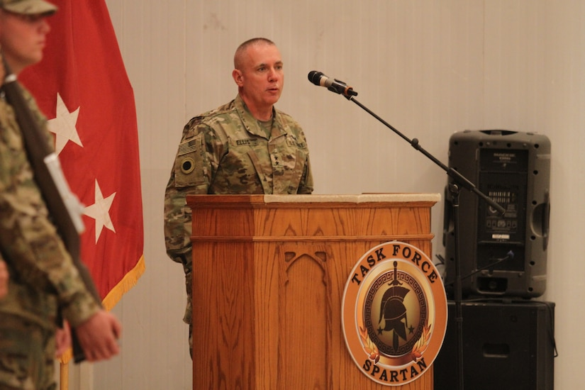 Major Gen. Gordon Ellis, commanding general, 38th Infantry Division, Indiana Army National Guard, speaks to the audience about his expectations for his unit as it assumes mission command for Task Force Spartan during a transfer of authority ceremony at Camp Arifjan, Kuwait, July 15, 2019. The ceremony marked the transfer of mission command between the outgoing 34th Red Bull Infantry Division, Minnesota Army National Guard and the incoming Cyclone Division.