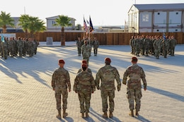 Soldiers of Task Force Sinai (TFS) stand in formation for a change of command ceremony at South Camp, Egypt, July 15, 2019. U.S. Army Col. Mark P. Ott relinquished command of TFS to Col. Robert J. Duchaine at a change command ceremony hosted by Maj. Gen. John P. Sullivan, commander of 1st Theater Sustainment Command.
