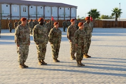 Soldiers of Task Force Sinai (TFS) stand in formation during a change of command ceremony at South Camp, Egypt, July 15, 2019. U.S. Army Maj. Gen. John P. Sullivan, commander of the 1st Theater Sustainment Command (1st TSC), visited Soldiers of TFS during his first visit to the Multinational Force and Observers since taking command of 1st TSC.