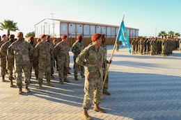 Soldiers of Headquarters and Headquarters Company (HHC), Task Force Sinai stand in formation during a change of command at South Camp, Sinai, Egypt, July 15, 2019. U.S. Army Capt. Soniel Barbosa II, the HHC commander, recently took command of HHC on July 8, 2019.