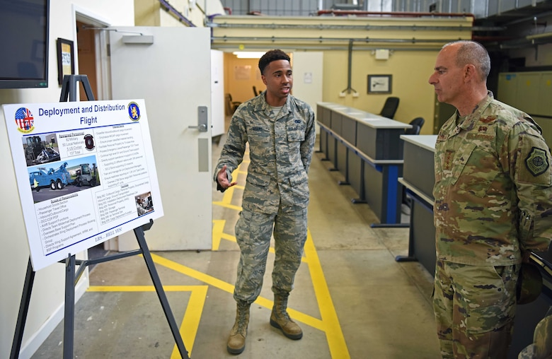 U.S. Air Force Gen. Jeff Harrigian, U.S. Air Forces in Europe – Air Forces Africa commander, receives a logistics briefing from Staff Sgt. Amir Adams, 100th Logistics Readiness Squadron member, at RAF Mildenhall, England, July 15, 2019. During the visit, Harrigian discussed how crucial RAF Mildenhall is to our allies all over the region. (U.S. Air Force photo by Airman 1st Class Brandon Esau)