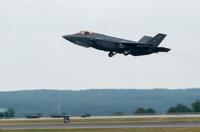A U.S. Air Force F-35A Lightning II, assigned to the 421st Fighter Squadron, Hill Air Force Base, Utah, takes off at Spangdahlem Air Base, Germany, July 16, 2019, during Operation Rapid Forge. Rapid Forge aircraft are forward deploying to bases in the territory of NATO allies in order to enhance readiness and improve interoperability. The goal of the operation is to enhance readiness in coordination with U.S. allies and partners in Europe. (U.S. Air Force photo by Airman 1st Class Kyle Cope)