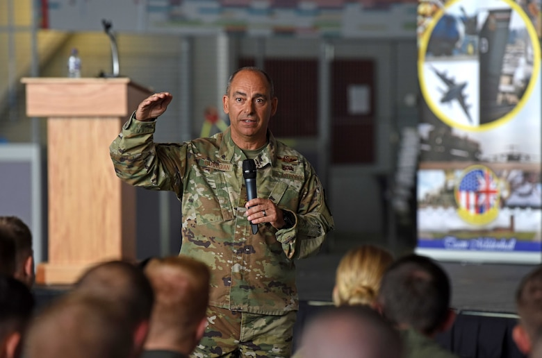 U.S. Air Force Gen. Jeff Harrigian, U.S. Air Forces in Europe - Air Forces Africa commander, discusses his priorities during an all-call at Hangar 814 on RAF Mildenhall, England, July 15, 2019. During the visit, Harrigian stressed the importance of strengthening partnerships through various exercises and a shared, common goal. (U.S. Air Force photo by Airman 1st Class Brandon Esau)