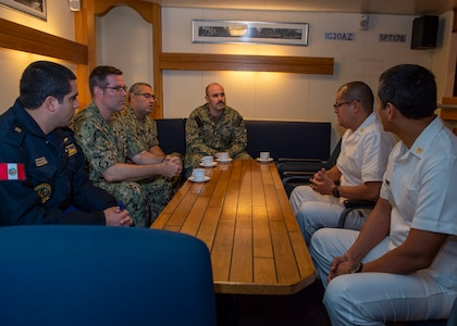 Navy doctors participate in a subject matter expert exchange with Peruvian navy doctors.