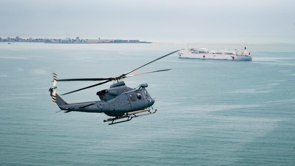 A helicopter in the air.