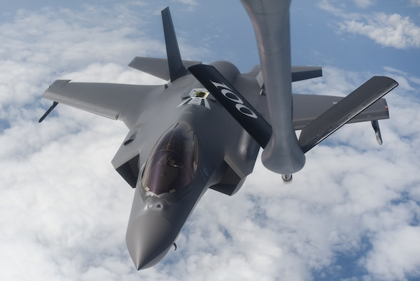 A U.S. Air Force F-35A Lighting II assigned to the 388th Fighter Wing, Hill Air Force Base, Utah, approaches a KC-135 Stratotanker assigned to the 351st Air Refueling Squadron, RAF Mildenhall, England, to receive fuel over the Baltic Sea July 13, 2019. The F-35 is deployed to the U.S. European Command area of responsibility to demonstrate U.S. commitment to the security and stability of Europe.  (U.S. Air Force photo by Airman 1st Class Joseph Barron)