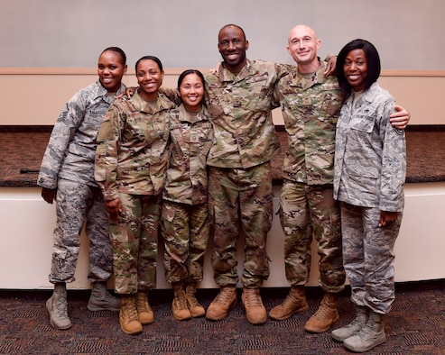 U.S. Air Force Airmen who shared their stories in the Owning Your Story seminar pose for a photo July 10, 2019 at Joint Base Langley-Eustis, Virginia.