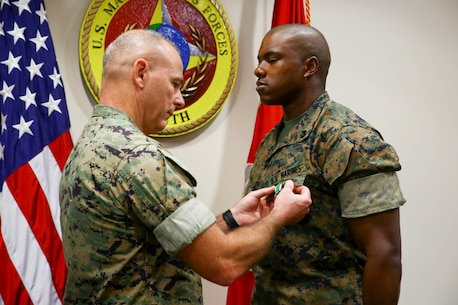SSgt Chad Williams was awarded the Navy and Marine Corps Commendation Medal as his tour at U.S. Marine Corps Forces, South came to an end, June 27, 2019.