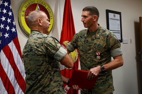 LtCol Justin Hubert was awarded the Meritorious Service Medal as his tour at U.S. Marine Corps Forces, South came to an end, June 27, 2019.