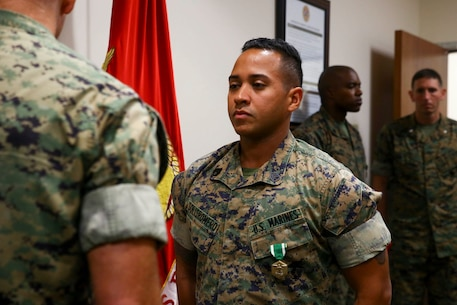 SSgt Abdiel Solisromero was awarded the Navy and Marine Corps Commendation Medal as his tour at U.S. Marine Corps Forces, South came to an end, June 27, 2019.