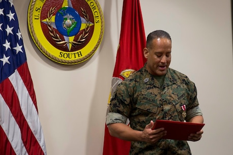 MSgt Juan Morales was awarded the Meritorious Service Medal as his tour at U.S. Marine Corps Forces, South came to an end, June 27, 2019.