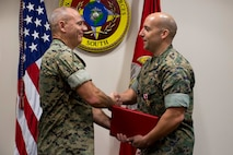 Maj Justin Eastman was awarded Meritorious Service Medal as his tour at U.S. Marine Corps Forces, South came to an end, June 27, 2019.