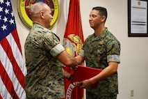 Sgt Michael Ortiz was awarded the Navy and Marine Corps Achievement Medal as his tour at U.S. Marine Corps Forces, South came to an end, June 27, 2019.