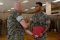 SSgt Michael Baez was awarded with the Navy and Marine Corps Commendation Medal as his tour in Miami came to an end, July 3, 2019.