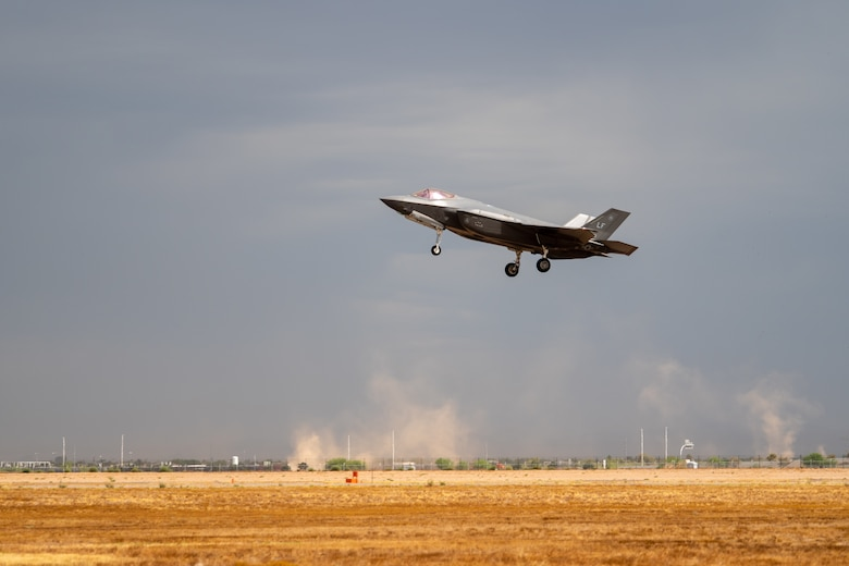An F-35A Lightning II assigned to the 63rd Fighter Squadron lands during a storm July 12, 2019, at Luke Air Force Base, Ariz. More than 100 F-35 pilots graduate from Luke every year from three fighter squadrons. (U.S. Air Force photo by Airman 1st Class Aspen Reid)