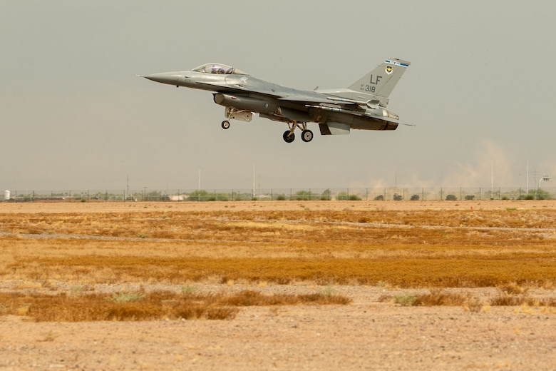 An F-16 Fighting Falcon, assigned to the 309th Fighter Squadron, lands July 12, 2019, at Luke Air Force Base, Ariz. The 309th FS was reactivated in 1994 and since then has continually produced fighter pilots and combat ready Airmen, flying more than 2,000 sorties a year. (U.S. Air Force photo by Airman 1st Class Aspen Reid)