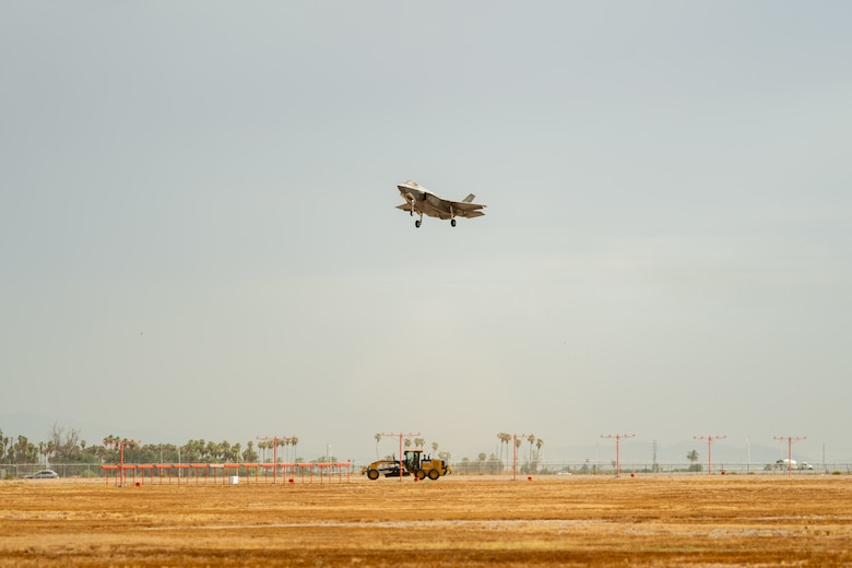 An F-35A Lightning II assigned to the 63rd Fighter Squadron prepares to land July 12, 2019, at Luke Air Force Base, Ariz. Luke is home to more than 90 F-35s, making it the largest F-35 training base in the Air Education Training Command. (U.S. Air Force photo by Airman 1st Class Aspen Reid)