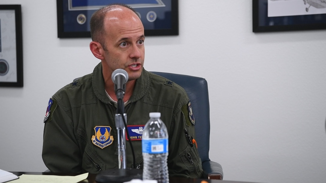 """Brig. Gen. E. John Teichert, 412th Test Wing Commander, is the first guest on the """"We Are Test"""" podcast series. (U.S. Air Force photo by Christopher Dyer)"""