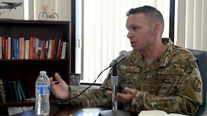 "Command Chief Master Sgt. Ian EISHEN, 412th Test Wing Command Chief, talks hosts the first ""We Are Test"" podcast episode. (U.S. Air Force photo by Christopher Dyer)"