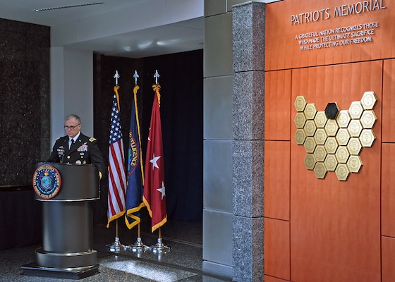 DIA Director Lt. Gen. Robert P. Ashley Jr. spoke during the awards and Patriots Memorial unveiling ceremony in honor of Scott Wirtz, July 15.