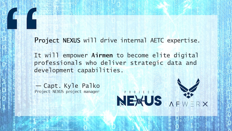 Illustration showing a quote about Project NEXUS from Capt. Kyle Palko. Project NEXUS, an Air Force beta test aimed at learning the best ways to introduce more technologically ready Airmen into units, will consist of three cohorts of six Airmen, who come from various Air Force specialties and backgrounds. (U.S. Air Force Illustration by 2nd Lt. Robert Guest)
