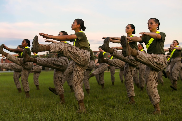A group of Marines kick up one of their legs while reaching out their arms to touch their toes.