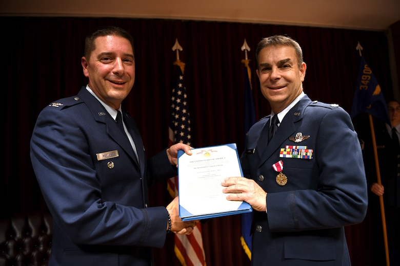Here at Travis Air Force Base, Calif., July 13, 2019, Lt. Col. Michael L. Drew passed command of the 349th OSS to Lt. Col. Andrew H. Black.