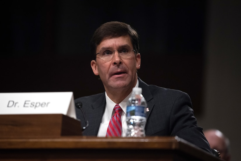 Army Secretary Dr. Mark T. Esper testifies at a hearing.