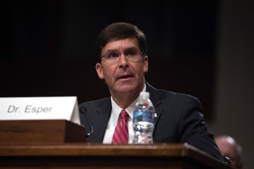 Army Secretary Dr. Mark T. Esper testifies at a hearing.