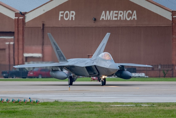 F-22 Raptor jet takes off from Joint Base Langley-Eustis