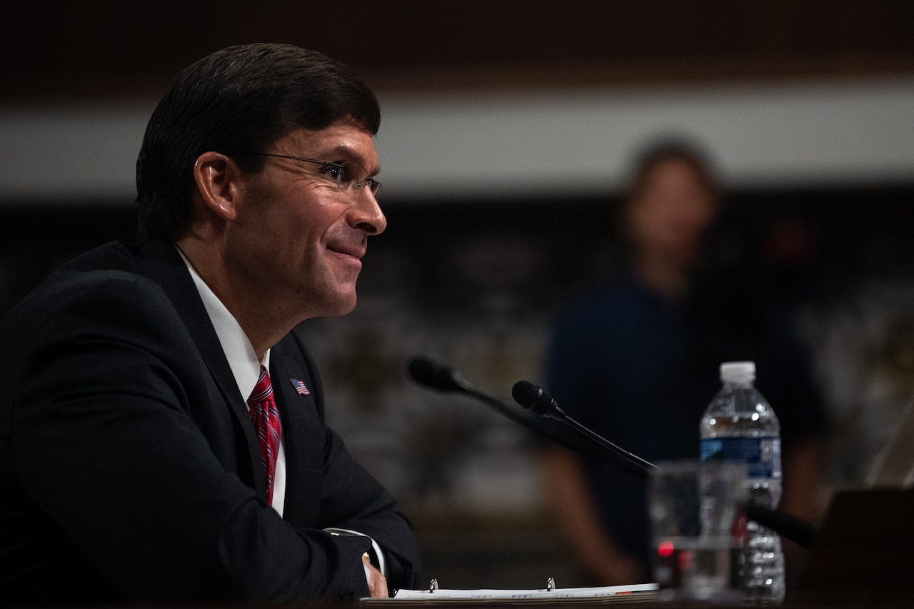 Army Secretary Dr. Mark T. Esper answers questions.