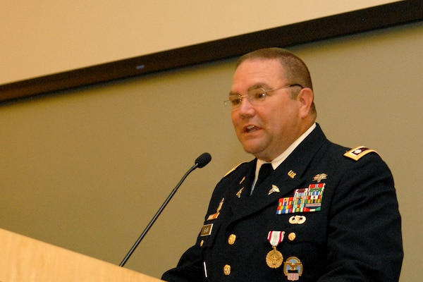Army Lt. Col. Jimmy Baker, Medical's Operational Customer Facing Division chief, speaks during a retirement ceremony at DLA Troop Support July 11, 2019 in Philadelphia.