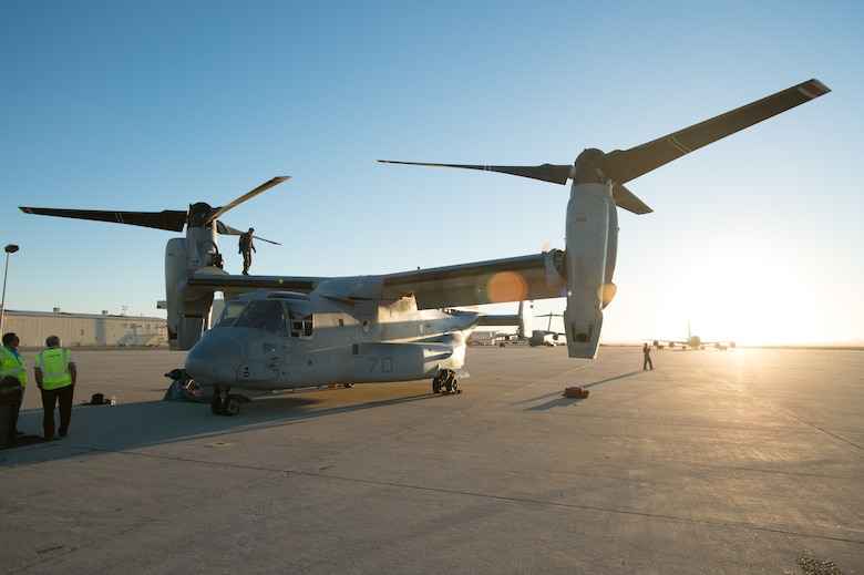 Body:  An MV-22 Osprey has come to Edwards Air Force Base for ground and flight tests as part of the process to certify the tilt-rotor aircraft to refuel behind the KC-46 Pegasus.  The MV-22 team is here from Naval Air Station Patuxent River, Maryland to conduct the joint tests with a combined Air Force, Navy and Boeing team of personnel.  (U.S. Air Force photo by Jordan Goodsell)