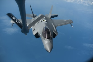 A U.S. Air Force F-35A Lighting II assigned to the 388th Fighter Wing, Hill Air Force Base, Utah, departs from a KC-135 Stratotanker assigned to the 351st Air Refueling Squadron, RAF Mildenhall, England, after receiving fuel over the Baltic Sea July 13, 2019. The F-35 conducted training with other Europe-based aircraft to demonstrate U.S. commitment to the security and stability of Europe. (U.S. Air Force photo by Airman 1st Class Joseph Barron)