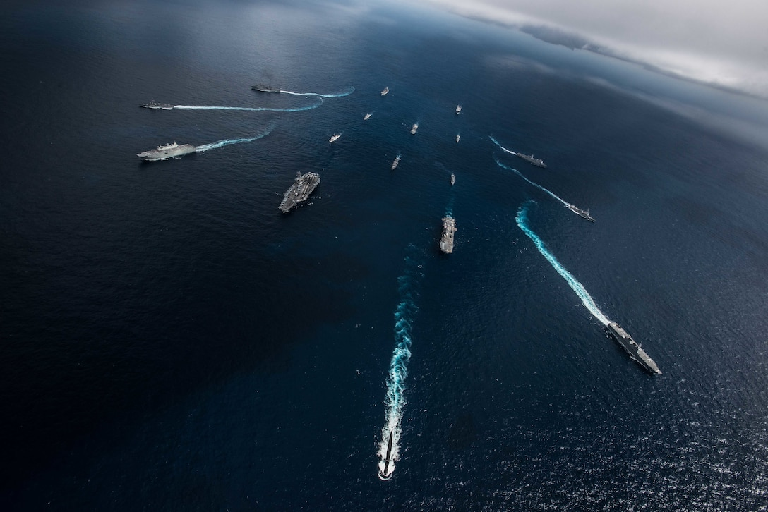 U.S. Navy, U.S. Coast Guard, Australian Navy, Canadian Navy and Japan Maritime Self Defense Force ships sail together in formation during Talisman Sabre 2019 . Talisman Sabre 2019 illustrates the closeness of the Australian and U.S. alliance and the strength of the military-to-military relationship. This is the eighth iteration of this exercise.