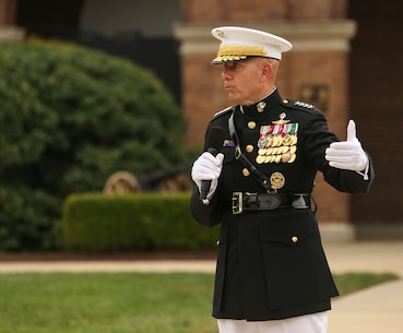 General David H. Berger, 38th Commandant of the Marine Corps, speaks to guests during a passage of command ceremony at Marine Barracks Washington, D.C., July 11, 2019. General Robert B. Neller relieved his duties as 37th Commandant of the Marine Corps to Gen. Berger. (U.S. Marine Corps photo by Sgt. Robert Knapp/Released)