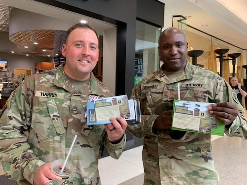 Soldiers with information cards