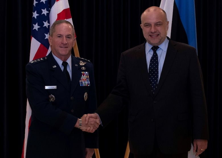 U.S. Air Force Chief of Staff Gen. David L. Goldfein met with Jüri Luik, Estonian Minister of Defence, during his visit to Estonia to discuss Baltic Sea regional security, defence cooperation and international security situation. (Courtesy photos by Estonia Ministry of Defence)