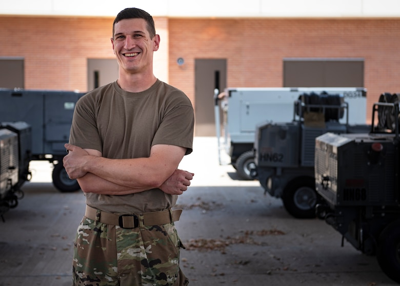 Senior Airman Shaun Lunn, 361st Training Squadron Aerospace Ground Equipment apprentice course graduate, poses for a picture at Sheppard Air Force Base, Texas, July 16, 2019. Lunn re-enlisted in 2018 after a break in service and has served for roughly nine years now. He enjoyed the military life and decided to re-enlist which lead him to the AGE course at Sheppard which he was awarded the ACE award after passing all 15 of his block tests with a perfect score. (U.S. Air Force photo by Airman 1st Class Pedro Tenorio)