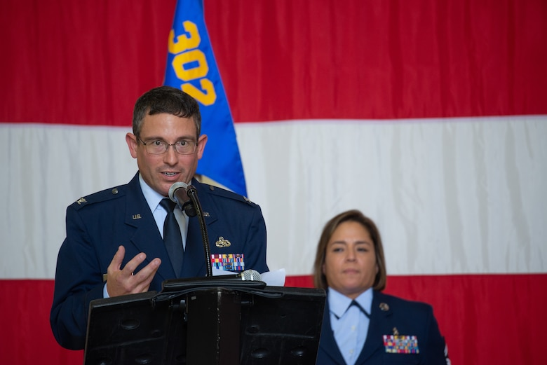 Col. Jordan Murphy, the 302nd Maintenance Group commander, addresses the maintenance group for the first time as their leader during a change of command ceremony July 14, 2019, at Peterson Air Force Base, Colorado.
