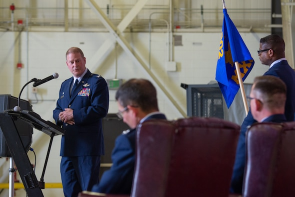 Col. James DeVere, the 302nd Airlift Wing commander, makes his opening remarks during the 302nd Maintenance Group change of command ceremony July 14, 2019, at Peterson Air Force Base, Colorado