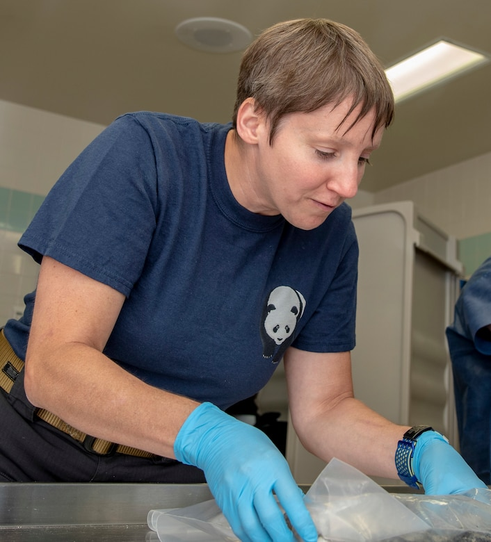 U.S. Navy Cmdr. (Dr.) Sherry Jilinski, Armed Forces Medical Examiner System medical examiner, conducts an inventory of items found at Colony Glacier at the 673rd Medical Group, Joint Base Elmendorf-Richardson, Alaska, June 26, 2019. Following the inventory at the 673rd Medical Group at Joint Base Elmendorf-Richardson, Alaska, a dignified carry and dignified departure for the remains was conducted by the JBER Honor Guard and 673rd MDG personnel before being escorted to Dover Air Force Base, Del. (U.S. Air Force photo by Staff Sgt. Nicole Leidholm)