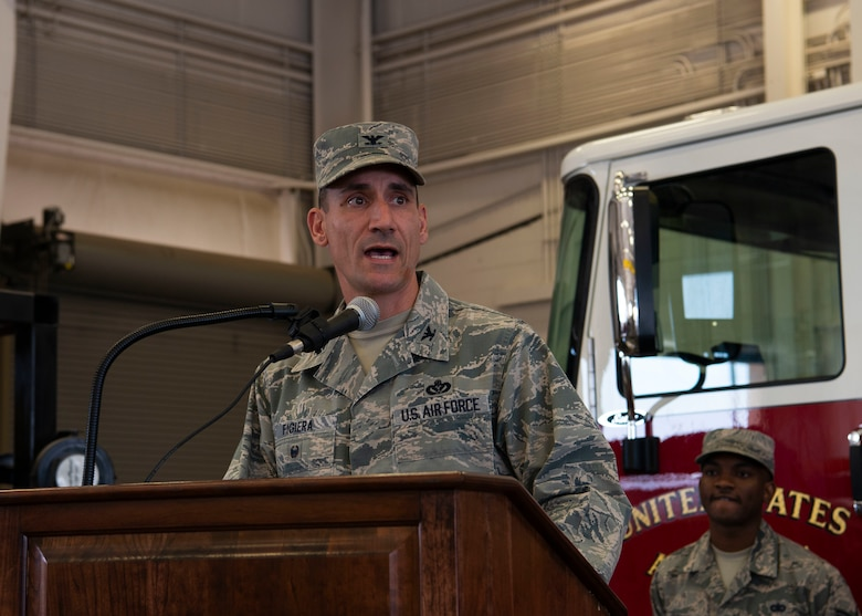 U.S. Air Force Col. Anthony Figiera, commander 99th Mission Support Group, speaks after assuming command of the 99th MSG at Nellis AFB, July 7, 2019. Figiera is directly responsible for contracting, communications, civil engineering, force support, logistics readiness, and security for Air Combat Command's largest installation. (U.S. Air Force photo by SrA Stephanie Gelardo)