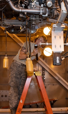 Airman 1st Class Kyle Jacob, an aerospace propulsion Airman assigned the 509th Maintenance Squadron, inspects a F-118 engine before diagnostic testing on July 9, 2019, at Whiteman Air Force Base, Missouri. Jacob and other members of the jet propulsion flight work daily to ensure the fleet of B-2 Spirits at Whiteman AFB have the engines needed to accomplish the mission, with plenty to spare, giving Whiteman the highest readiness rate across the active-duty Air Force. (U.S. Air Force photo by Staff Sgt. Kayla White)