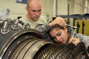 Airman 1st Class Mariana Salazar, an aerospace propulsion Airman assigned to the 509th Maintenance Squadron jet propulsion flight, trains to perform maintenance on an F-118 engine on July 9, 2019, at Whiteman Air Force Base, Missouri. Salazar and other members of his flight run diagnostic tests and perform regular maintenance on F-118 engines on a daily basis to ensure the readiness of the B-2 Spirit fleet at Whiteman AFB. The jet propulsion flight achieved the highest readiness rate across the active-duty Air Force. (U.S. Air Force photo by Staff Sgt. Kayla White)